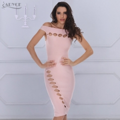 Adyce Summer New Women Party Bodycon Bandage Dress Pink Holllow Out Slash neck knee-length Celebrity Runway Dress Casual Vestidos