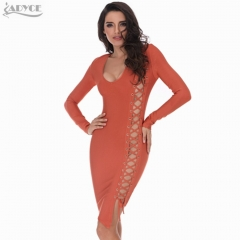 Adyce Summer Women Mini Orange Bandage Dress V-Neck Long Sleeve Hollow Out Elegant Celebrity Runway Bodycon Evening Party Dresses