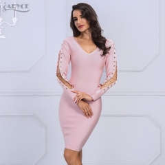 Adyce New Brand Autumn Bandage Dress Pink Women V Neck Long Sleeve Hollow Out Mini Dresses Celebrity Party Dress Vestidos