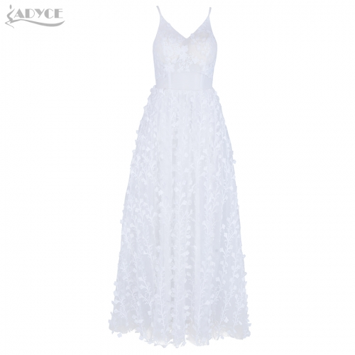 ADYCE New Dresses Summer Elegant White Lace Mesh Sleevesless Vestido Spaghetti Strap Patchwork Celebrity Party A Line Dress