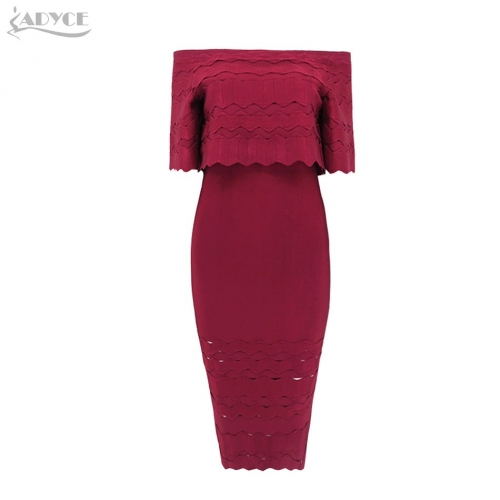 ADYCE New Arrival Autumn Dress Sexy Wine Red Off the Shoulder Elegant Women Bandage Dress Celebrity Evening Party Dresses