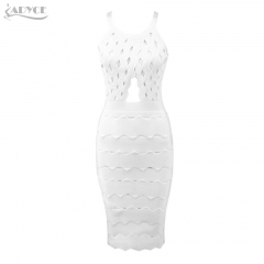 Adyce New Summer Women Bandage Dress Vestidos Verano Chic Sexy Sleeveless Long Hollow Out Dress Celebrity Party Dress