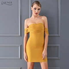 Adyce New Summer Bandage Dress Women Chic Sexy Yellow Off Shoulder Vestido Bodycon Club Dress Celebrity Evening Party Dress