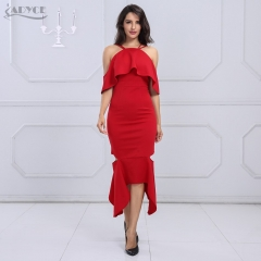 Adyce New Summer Women Bodycon Dress Red Short Sleeve Vestidos Verano Elegant Ruffles Maxi Celebrity Evening Party Dresses