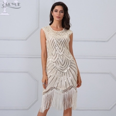 Adyce New Summer Dress Elegant Sequins Mesh Tassel Sleeveless Vestidos Sexy Celebrity Party Dresses Clubwear Runway Dress