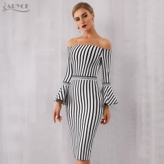 Adyce 2019 New Summer Women Bandage Dress Sexy Flare Sleeve White&Black Club Dress Vestido Elegant Celebrity Evening Party Dress
