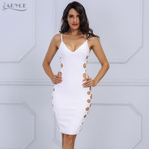 Adyce New Arrival Summer Dress Chic White Side Cut Out V Neck Sleeveless Party Dress Sexy Women Celebrity Bandage Dress