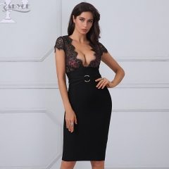 Adyce New Arrival Summer Dress Women Sexy Black Lace Sheer Patchwork Bandage Dress Vestidos Celebrity Party Dress Clubwear