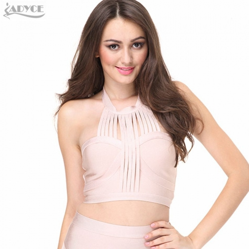 ADYCE Summer Chic Runway Tank Top pink khaki black white sexy Sleeveless Bandage Top Crop Top Nightclub wear wholesale