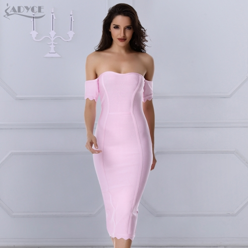 Adyce New Summer dress Runway Bandage Dress Off The Shoulder strapless pink mid-calf hot sexy bodycon women evening party dresses