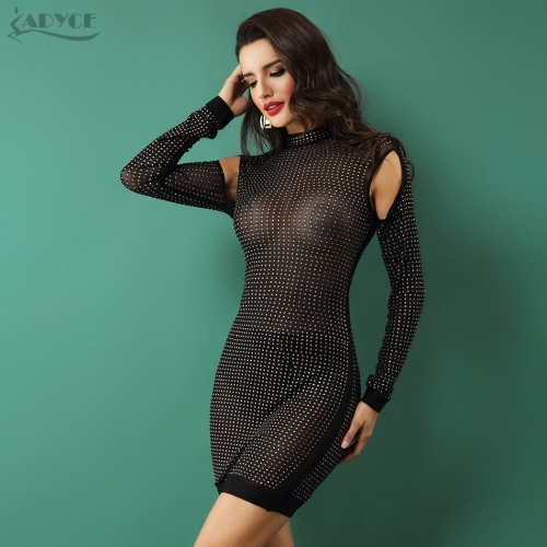 Adyce New Women Party Dress Bodycon Dress Long Sleeve Studded Button Black Mesh O-Neck Celebrity Sexy Bandage Dress Wholesale