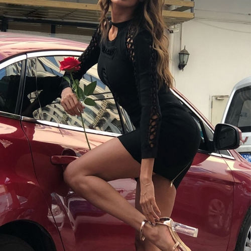 ADYCE New Summer Bandage Dress Women Vestidos 2019 Sexy Hollow Out Long Sleeve Black Club Dress Mini Celebrity Party Dress