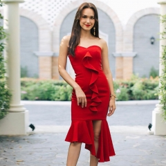 Adyce 2019 New Summer Arrival Celebrity Party Dress Women Vestidos Sexy Sleeveless Strapless Red Ruffles Midi Club Bandage Dress