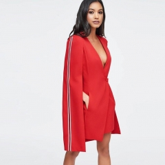 Adyce New Winter Women Slim Trench Coats Sexy White Red Deep V Single Breasted Celebrity Party Coats Long Sleeve Club Coats