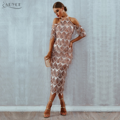 Adyce Elegant Sequins Evening Party Dress Vestidos Verano New Mesh Runway Dress Sexy Night Club Tassels Woman Fringe Dress