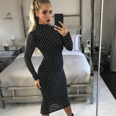 Adyce 2019 New Women Spring Bandage Dress Sexy Lace Dot Bodycon Dress Vestido Long Sleeve Clubwear Celebrity Evening Party Dress