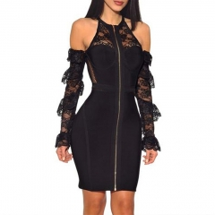 Adyce New Summer Women Bodycon Bandage Dress Sexy Black Long Sleeve Lace Hollow Out Club Dress Mini Celebrity Party Dress
