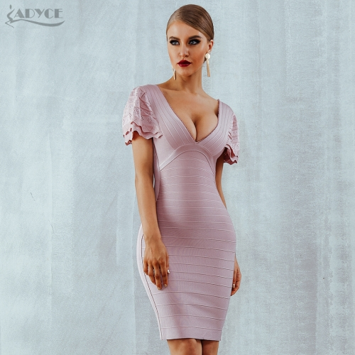 Adyce Sexy Women Bandage Dress Summer Vestidos Verano  V Neck Butterfly Sleeve Bodycon Club Celebrity Evening Party Dresses