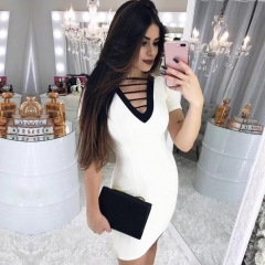 Adyce 2019 New Summer Bandage Dress Women Sexy Short Sleeve White Midi Club Dress Elegant Celebrity Evening Party Dress Vestido