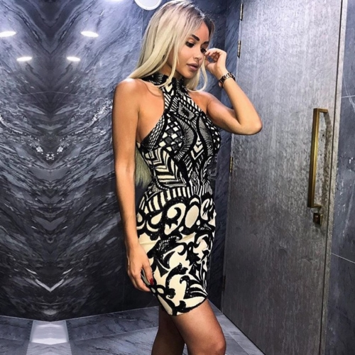 ADYCE New Summer Women Celebrity Party Dress Vestidos Sexy Black Halter Backless Sequin Sleeveless Mini Bodycon Club Dress