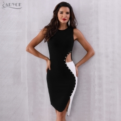 ADYCE 2019 New Summer Bodycon Bandage Dress Women Black O-Neck Sleeveless Tank Hollow Out Vestidos Celebrity Evening Party Dress