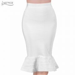 ADYCE 2019 New Summer Women Bodycon Bandage Skirts Sexy White Yellow Ruffles Celebrity Knee-Length Mermaid Evening Party Skirts