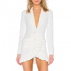 Adyce New Winter Women Slim Trench Coat Sexy White Deep V Double Button Celebrity Party Coats Long Sleeve Ruched Club Coats