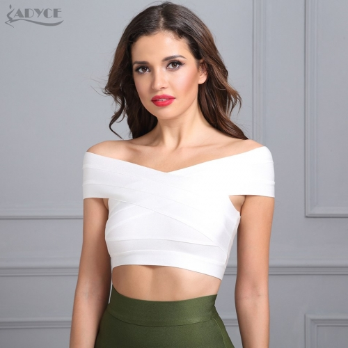 ADYCE High Quality New Knitted White Black Bodycon Bandage Tops Sexy Off Shoulder Fashion Short Tank Top For Women Vestidos