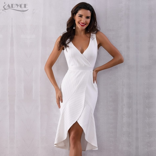 Adyce Women Summer Bandage Dress New Sexy White Sleeveless Mermaid V-Neck Midi Tank Celebrity Evening Party Dress Vestidos