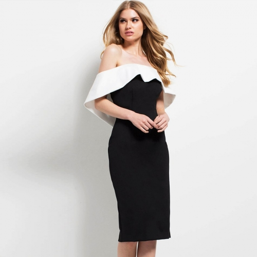 Adyce 2019 New Summer Bandage Dress Women Sexy Black Slash Neck Celebrity Party Dress Vestidos Elegant Midi Bodycon Club Dress