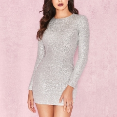 ADYCE Celebrity Party Sequin Dress Women 2019 New Arrivals Sexy Long Sleeve O Neck Sequin Mini Luxurious Club Dresses Vestidos