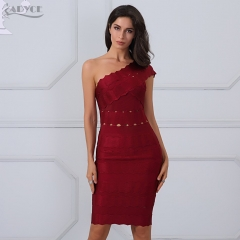 Adyce Fashion Summer Dresses Sexy One Shoulder Red Backless Hollow Out Mini Bodycon Celebrity Runway Party Dress Vestidos
