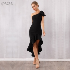 Adyce 2019 New Summer Midi Women Celebrity Party Dress Vestido Sexy Black One Shoulder Sleeveless Ruffles Bow Mermaid Club Dress