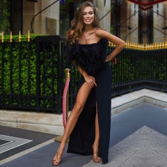 Adyce New Summer Bandage Dress Women Vestidos Verano New Strapless Feathers Luxury Long Maxi Celebrity Evening Party Dress