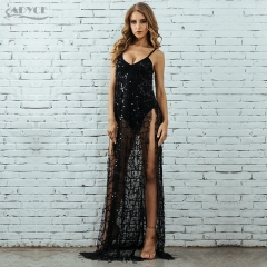 Adyce Sequined Summer Dress Women Vestidos Verano Sexy V Neck Sleeveless Spaghetti Strap Mesh Long Celebrity Party Dresses