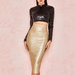 ADYCE New Summer Women Bandage Skirts Sexy Celebrity Runway Party Skirts Mid-Calf Gold Female Bodycon Club Pencil Skirts
