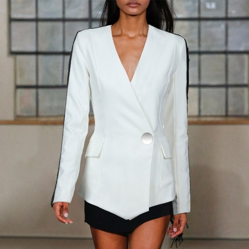 Adyce New Summer Women Slim Trench Coats White Deep V-Neck Single Button Coats Long Sleeve Tassel Fashion Club Coats Trench