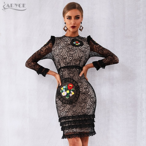 Adyce 2019 New Arrival Women Spring Celebrity Runway Party Dresses Vestidos Sexy Black Long Sleeve Lace Midi Ruffles Club Dress