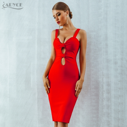Adyce 2019 New Summer Bodycon Bandage Dress Vestido Hollow Out Spaghetti Strap Red Blue Club Dress Celebrity Evening Party Dress