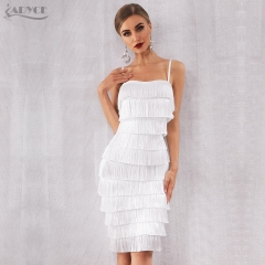 Adyce 2019 New Summer Bodycon Fringe Bandage Dress Women Vestidos White Spaghetti Strap Tassel Club Dress Celebrity Party Dress