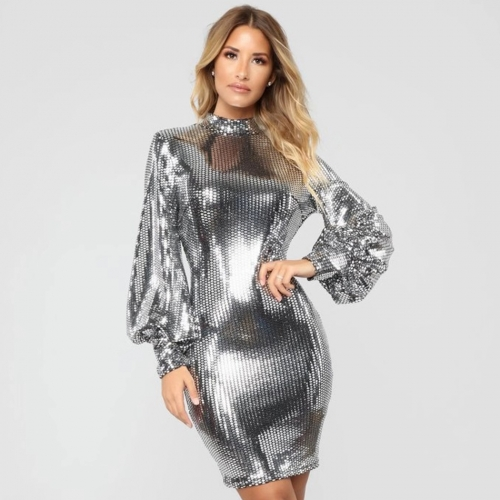 Adyce 2019 New Arrival Women Summer Celebrity Runway Party Dress Sexy Silver Long Sleeve Sequin Mini Luxury Club Dress Vestidos