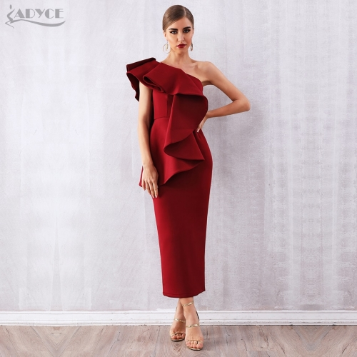 Adyce Summer Women Celebrity Party Dress Vestidos Verano Sexy Sleeveless Ruffles Wine Red One Shoulder Bodycon Club Dress