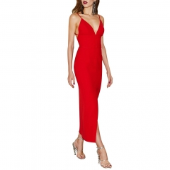 Adyce New Summer Women Bandage Dress Red Sexy V Neck Spaghetti Strap Maxi Club Dress Luxury Celebrity Party Dress Vestidos