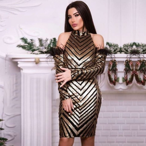 Adyce 2019 New Summer Celebrity Evening Party Dress Women Vestidos Elegant Gold Sequined FeathersLong Sleeve Bodycon Club Dress