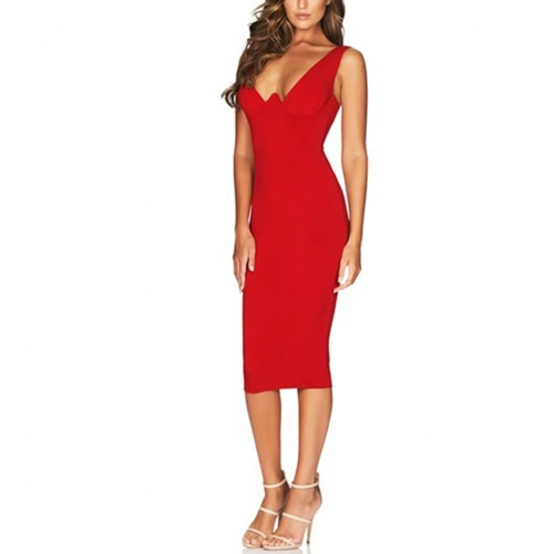 ADYCE Summer Women Bandage Dress Vestidos Verano 2019 Red Tank Sexy Deep V Sleeveless Bodycon Club Dress Celebrity Party Dress