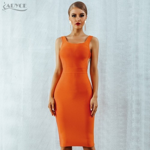 ADYCE 2019 New Summer Women Bandage Dress Vestidos O-Neck Backless Hollow Out Sexy Sleeveless Celebrity Bodycon Party Club Dress