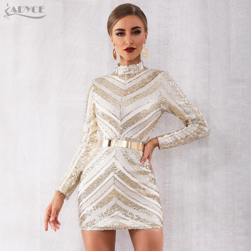 ADYCE 2019 New Spring Arrive Celebrity Runway Party Sequined Dress Women Elegant Long Sleeve Sexy Mini Luxury Club Dress Vestido