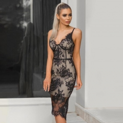 Adyce 2019 Summer Bandage Dress Women Vestidos Sexy Black Lace V Neck Spaghetti Strap Club Dress Celebrity Evening Party Dresses