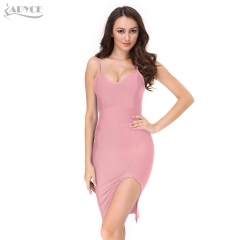 2019 New sexy Women Bodycon Dress Sleeveless Sling Knee-length Split Pin Celebrity Runway Evening Party Dress Club Bandage Dress