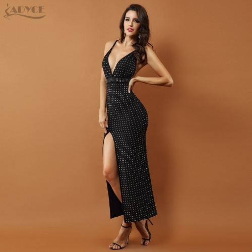 ADYCE Women Celebrity Evening Party Dress New Black Beaded Sleeveless Sexy Backless Splitting Spaghetti Strap Dress Vestido